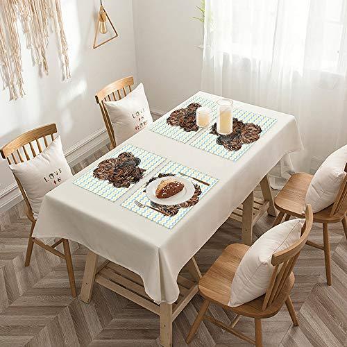 Sets de table de Rectangulaire lavables, durables, résistants à la chaleur et antidérapants,Yorkie, mignon marron Yorkie avec une boucle plate sur la tête,Salle à Manger de Cuisine de Fête (Lot de 4)