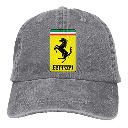 Men Vintage Adjustable Cap Personalized General Motors Ferrari Logo Fashion Cotton Baseball Cap, Red,Sombreros y Gorras
