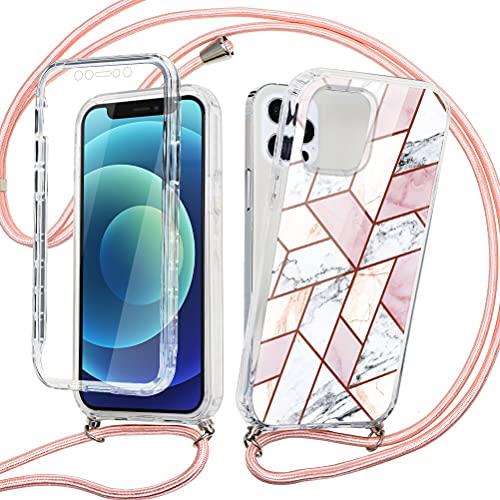 ZhuoFan 360° con Cuerda para iPhone 7 Plus / 8 Plus Carcasa Transparente 360 Grados Protectora Antigolpes Delantera Trasera Case Silicona Bumper Dibujos con Colgante Ajustable Collar Correa, Mármol 3