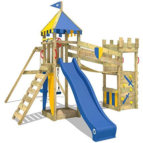 WICKEY Parque infantil de madera Smart Hero con columpio y tobogán azul, Torre de escalada de...