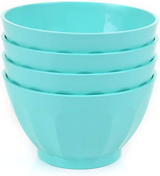 Mintra Colorful Unbreakable Plastic Bowl 4pk Part Of A Set Salad Snacks Breakfast Cereal Fruit Popcorn Soup Shatterproof BPA Free Medium 750ml Teal