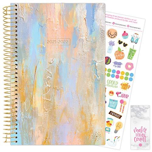 """bloom daily planners 2021-2022 Academic Year Planner & Calendar (July 2021 - July 2022) - 6"""" x 8.25"""" - Weekly/Monthly Agenda Organizer Book with Stickers & Bookmark - Beach Glass"""