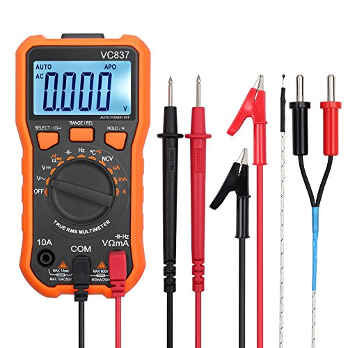 Proster Autoranging Multimeter 6000 Counts AC DC Current Tester Voltage Meter Volt Ohm Meter with Alligator Clips TRMS NCV Temperature Capacitance Diode Audible Continuity Meter