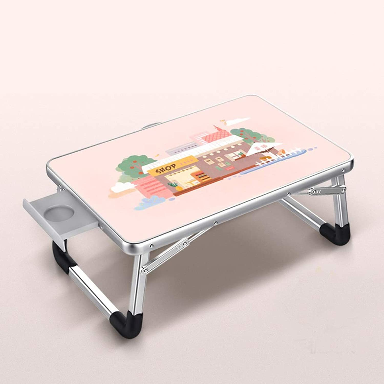 JSFQ Household Folding Table Bed Small Table Laptop Table Foldable Student Dormitory Lazy Table Personalized Metal Folding Table Folding Table (Size   70×50cm)