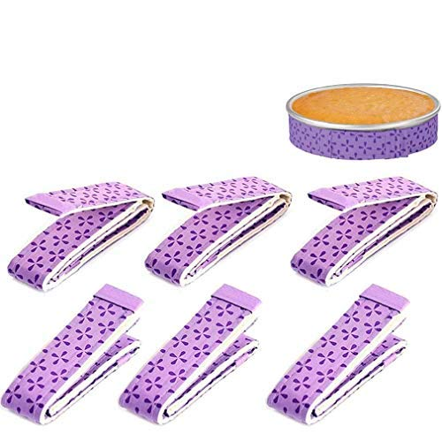 6-Piece Bake Even Strip, Dampen Cake Pan Strips Super Absorbent Thick Cotton, Cake Strips for Baking (Purple)