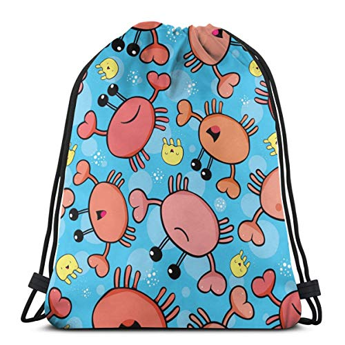 Cute Crab And Jellyfish Drawstring Backpack Gym Sack Cinch Bag String Bag