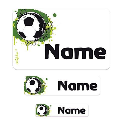 Striefchen® Schuletiketten mit Wunschname Motiv: Fussball - 100 teiliges Set Ideal zur Einschulung oder Schulanfang