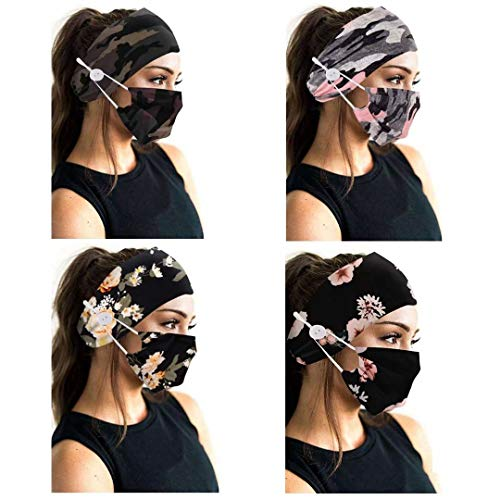 Headband Set Mouth Cover Reusable Headband with Mask set Bohemian Style Headwraps Buttons HairBand Mask Ear Saver Sports Bandana Headpiece Scarf Hair Accessories for Women and Girls