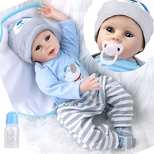 ZIYIUI Muñeco Reborn bebé Silicona Chico Muñecas Bebe Reborn Niño Realista Baby Dolls Niños Juguete 55 cm