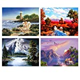 DIY 5D Diamond Painting by Number Kits,Rhinestone Diamond Embroidery Paintings Pictures for Home Wall Decor Landscape Scenery Series 15.7x11.8Inches 4 Pack