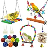 WBYJ 17 Pack Birds Parrot Toys, Parrots Swing Hanging Chewing with Bells Toys Hand Made Bird Cage Toys for Love Birds Finches Small Parrots Parakeets Cockatiels Conures Small Macaws (A)