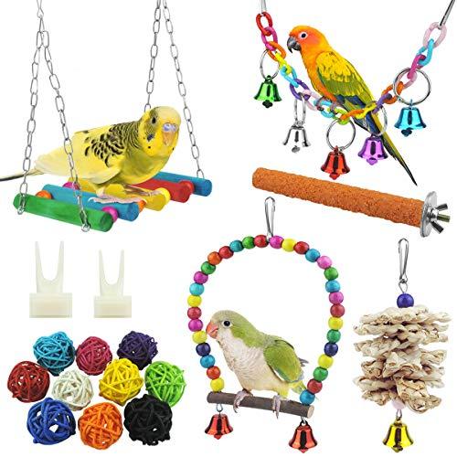 17 Stück Bunten Vogelspielzeug, Stehende Sitzstangen Vogel Papagei Schaukel Spielzeug mit Glocken, Handgemacht Vogelkäfig Spielzeug für Liebesvögel Finken Papageien Sittiche Nymphensittiche Conures