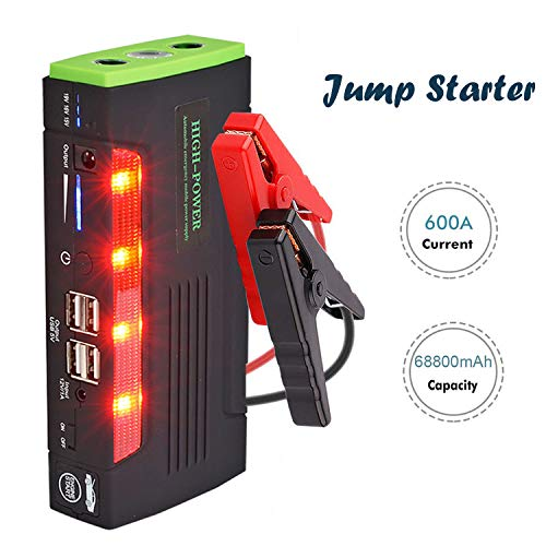 Arrancador de Coche 68800mAh 600A Jump Starter, Arrancador Baterias Coche (hasta 6.0L en Gas o 4.0L en Diesel) con Pinzas Inteligentes, Puertos de Carga 4 USB, Linterna LED