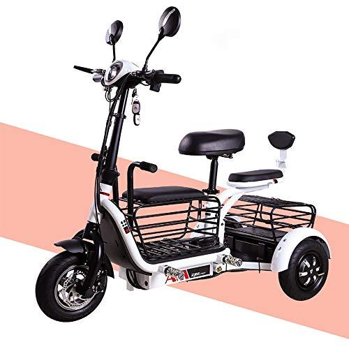 Vespa eléctrica Plegable Triciclo para Adultos eléctrico Triciclo portátil de Viaje Plegable Mini Coche eléctrico de 800W Motor 48V20A batería de Litio Viene con Soporte para teléfono móvil,Blanco