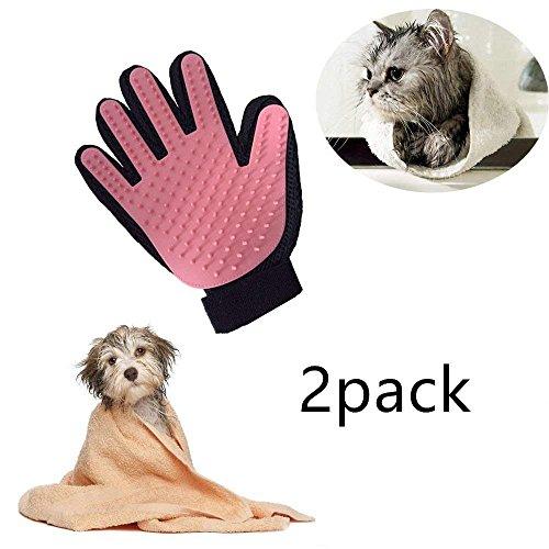 Locisne 2Packs Pet Hund Katze Reinigung Bad Pinsel Handschuh Silikon True Touch für sanfte effiziente Massage Pflege Groomer Shedding Haarentferner Clean Handschuh, rechte Hand (2 * rechte Hand, rosa)