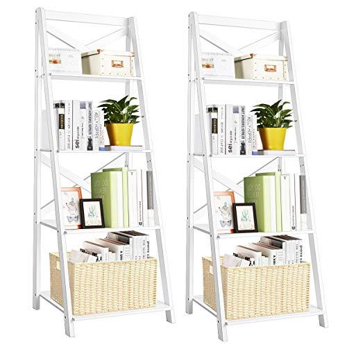 Tangkula 4-Tier Ladder Shelf Bookcase Leaning Free Standing Wooden Frame Decor Bookshelf Storage Flower Shelf Plant Display Shelf for Home Office (White, 2)