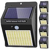 Kolpop Focos Solares Exterior, [5 Pack / 3 Modos ] Luz Solar Exterior con Sensor Movimiento, 100 LED Luces LED Solares para Exteriores Impermeable Lampara Solar Aplique LED Solar para Exterior Jardin
