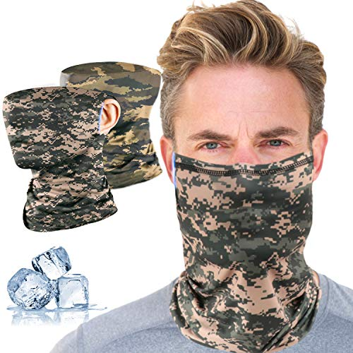 Neck Gaiter for Men Summer Cooling Face Scarf Bandanas Balaclavas for Dust Outdoor Sport Protective 2 Pcs for Women and Kids, Ear Loops Camouflage Fishing Ridding Running Gaiters …