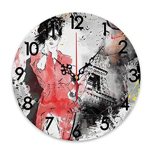 ZORMIEY Reloj de Pared Redondo con Pilas Paris Modern Parisienne Moda Francesa Dama Mujer sobre Fondo Grunge Complejo Moderno, sin tictac Decorativo para Cocina Sala de Estar Oficina en casa Escuela