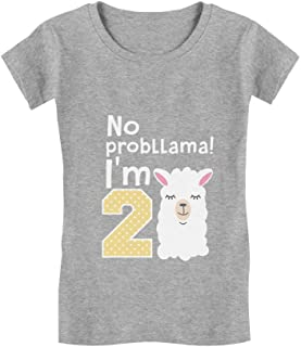 Gift for 2 Year Old Girl No Probllama 2nd Birthday Infant Girls' Fitted T-Shirt