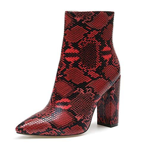 CASTAMERE Donna Cerniera Stivali Caviglia Tacco a Blocco 10CM Alto Tacco Serpente Rosso Scarpe EU 44.5