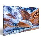 bilderfelix® Bild auf Leinwand Geothrmal rauchendes Feld