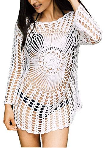 PANAX Damen Gestrickte Urlaub Baumwolle Strandkleid - Häkeln Tunika Biniki Cover up Style1 in wieß