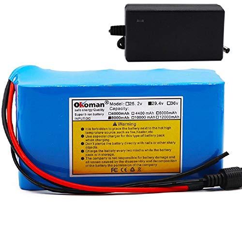 Batería de Iones de Litio de Bicicleta eléctrica de 24v 8ah 8000mah 250w 18650 Paquete de batería Motor de Silla de Ruedas BMS + Cargador de 29.4v