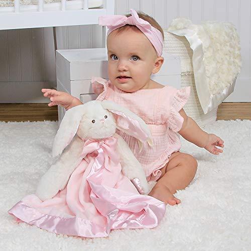 "Bearington Baby Bunny Snuggler, Pink Rabbit Plush Stuffed Animal Security Blanket, Lovey 15"""