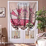 Drapes and Curtains Gender Reveal Thermal Insulated Curtain Greeting for New Infant Puppy Dog and Baby Carriage Pastel Colors Blind for Living Room Pale Yellow and Pink Rod Pocket Panel, 39'W x 63'L