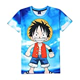 EDMKO Hombre Mujere Camisetas One Piece Anime Series Monkey D. Luffy T-Shirts 3D Graffiti Personajes De Casual Hipster Deportivas Manga Corta Cosplay Costume,X~Large