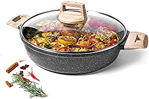 CAROTE 3.8 Liters/28cm Covered Braiser Kadhai Granite Coating from Switzerland, with Lid, All Stoves Compatible...