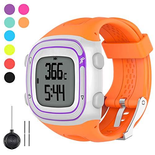 Watbro Watch Band Compatible with Garmin Forerunner 10/ Forerunner 15 Running Watch, Soft Silicone Replacement Wristband for Garmin Forerunner 10/15 Smart Watch Women Men