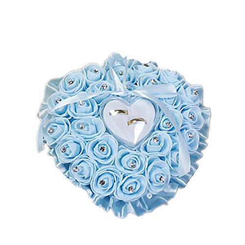 ECOSWAY Hochzeitsringkissen im europäischen Stil, für Paare, Rosenband, Diamantverzierung, Hochzeitsring, Herzform, Aufbewahrungsbox, Hochzeits-Requisiten (hellblau)