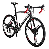 Eurobike Road Bikes EURXC550 21 Speed 54 cm Frame Road Bicycle 700C 3-Spoke Wheels Dual Disc Brake Bike Blackwhite