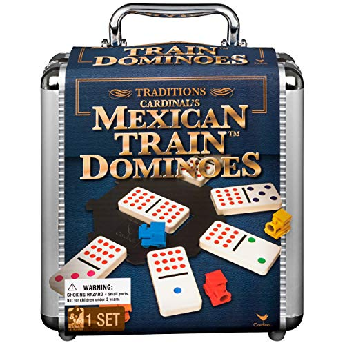 Mexican Train Dominoes Game in Aluminum Carry Case for Families and Kids Ages 8 and up