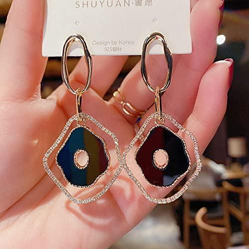 XAOQW Pendientes de Gota Azul Red de celebridades Moda Temperamento Multifuncional Gancho de oído Gota pendientes-128