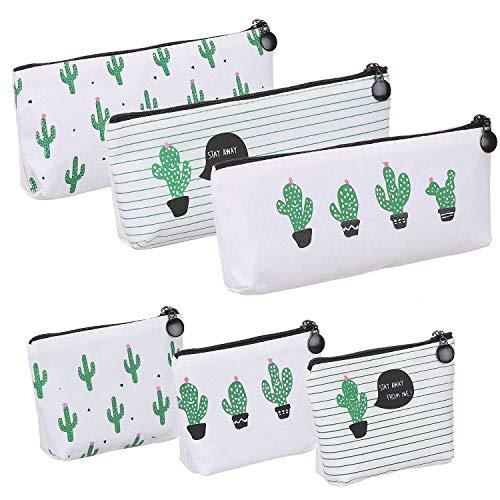 Elisel 6 Pack Cactus Design Canvas Pen Case Pencil Bag,Pencil Pouch Travelling Cosmetic Bags Coins Bag Storage Bag Cute Pencil case(Medium Sized 1)