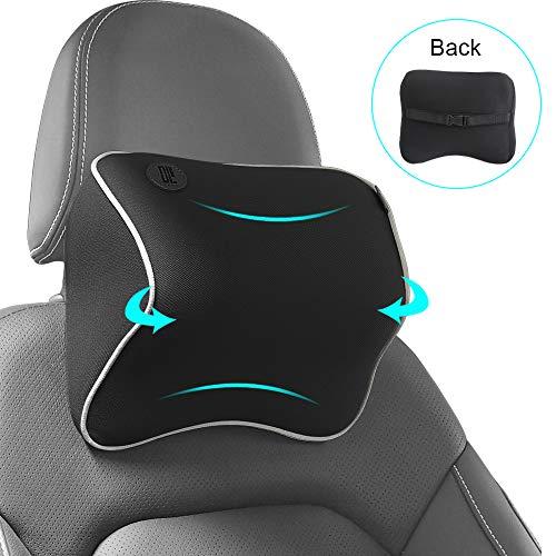 QBUC Car Seat Neck Pillow, Headrest Cushion for Neck Pain Relief &Cervical Support, Memory Foam and Ergonomic Design(Black)