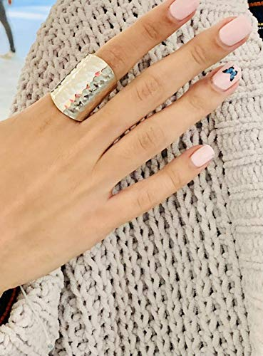 OhSella sterling silver hammered ring for women Index finger rings for women handmade hammered ring boho ring cigar band ring for women cool ring for women simple ring for women fits size 6-10