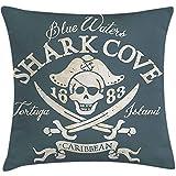 Saudade House 2 Stück Piraten Dekokissen Kissenbezug,Shark Cove Tortuga Island Karibik Wasser Retro...
