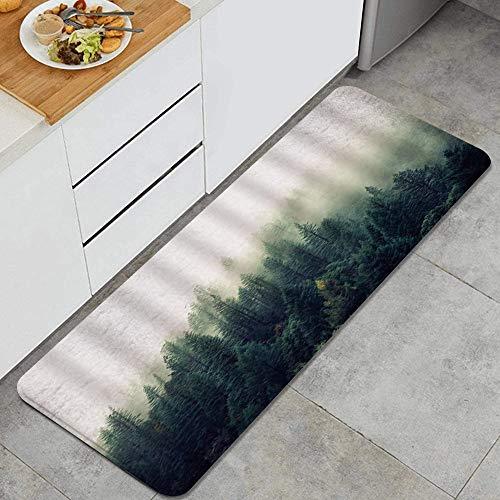 vhg8dweh Alfombra de Cocina,Bosque de pinos brumoso Naturaleza Fresca Bos, Alfombra Antideslizante con Respaldo para Alfombra de Cocina, tapete, tapete, 47.2 x 17.7 Pulgadas