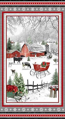Holiday Homestead Panel Christmas Farm Scene Panel Henry Glass