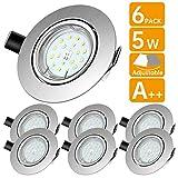 LED Spots Encastrables,Blanc Froid 6000K,600lm Plafonnier Encastré,5W Equivalente de 60W Ampoule halogène,30°orientable,120°d'éclairage,6x GU10 Lampe de plafond,Rond Métal Nickel Non Dimmable