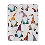 AHOMY Home Decor Blanket Throw Size Christmas Xmas Funny Gnomes Lightweight Super Soft Microfiber Bed Blanket 50 x 60 Inch