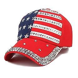 Blue & Red 2 Adjustable Bling Rhinestone Denim Baseball Cap
