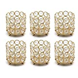 VINCIGANT Gold Crystal Votive Candle Holders / Tealight Candle Holders Set of 6 for Office Table,Home Decorative Centerpiece,Gifts for Birthday,Wedding