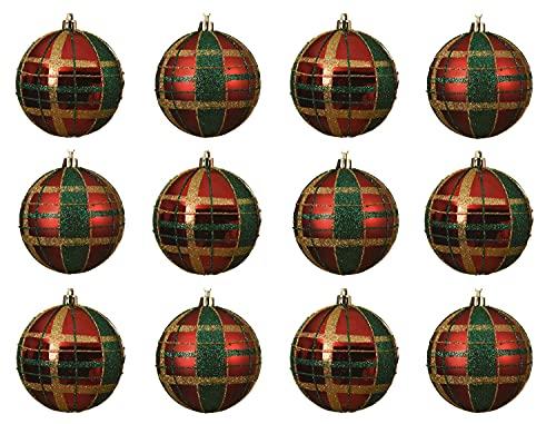 Decoris Weihnachtskugeln Kunststoff 8cm x 12 Stück bruchsicher Schottenkaro Christbaumkugeln weihnachtsrot