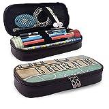 La vie est meilleure à la plage crayon stylo étui sac à glissière papeterie pochette titulaire boîte organisateur pour Middle High School Office College