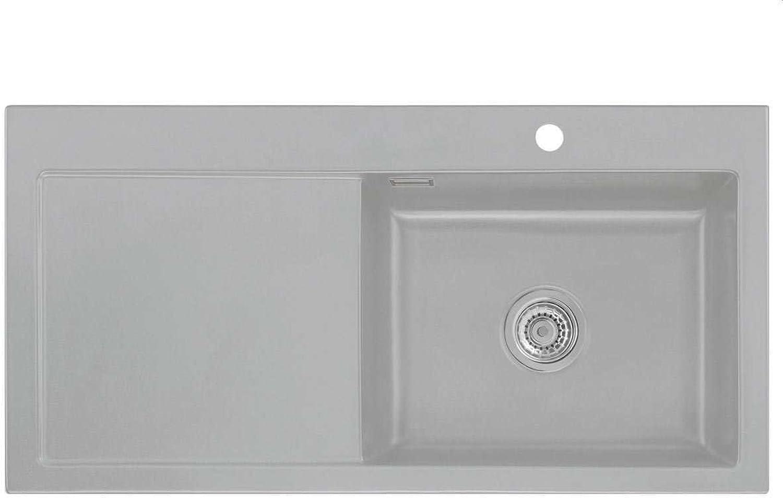 Systemceram Mera 100 SL Titan Keramik-Spüle Handbettigung Grau matt Spülbecken